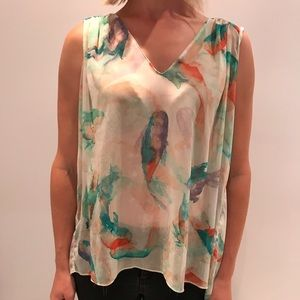 Zara high low sleeveless blouse